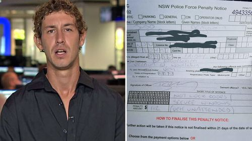 Sydneysider Ben Judd was fined $112 for leaving his car unlocked at a service station.