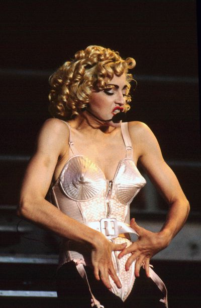 Madonna performs live on stage at Feyenoord stadium in Rotterdam, Netherlands on 24th July 1990.