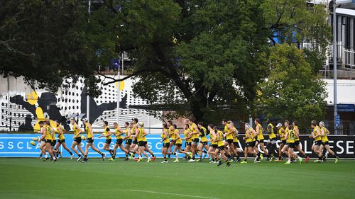 Richmond football players are seen during a Richmond Tigers training session at Punt Road Oval in Richmond, Melbourne. (AAP)
