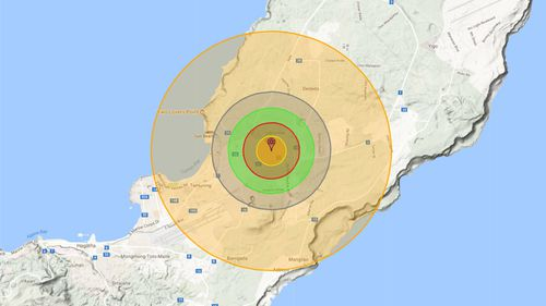 Alex Wellerstein's Nukemap software predicts the impact of a nuclear bomb dropped on Guam.