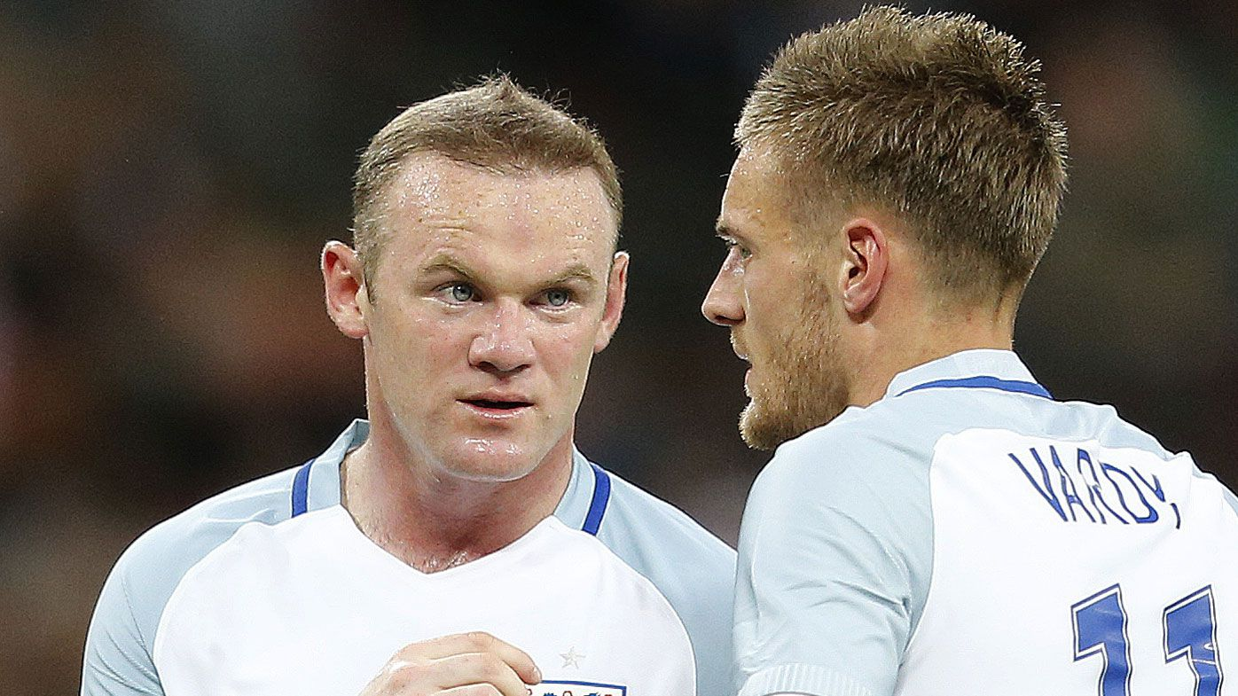 England's Wayne Rooney (left) and Jamie Vardy (AAP)