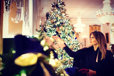 Melania Trump White House Christmas.First Lady Melania Trump Unveils White House Christmas