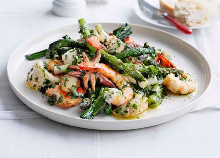 Seafood salad with herb dressing