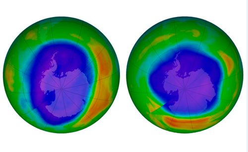 This NASA image compares areas of low ozone above Antarctica on September 2000, left, and September 2018. The purple and blue colors are where there is the least ozone, and the yellows and red parts are where there is more ozone.