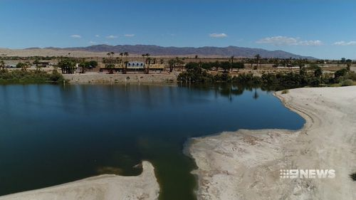 The Salton Sea, 90 metres below sea level, has been shrinking for decades