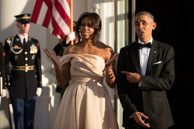 <p>All eyes were on FLOTUS when she swept into the Nordic State Dinner in a Naeem Khan gown in a sweet champagne shade. </p> Image: Getty.