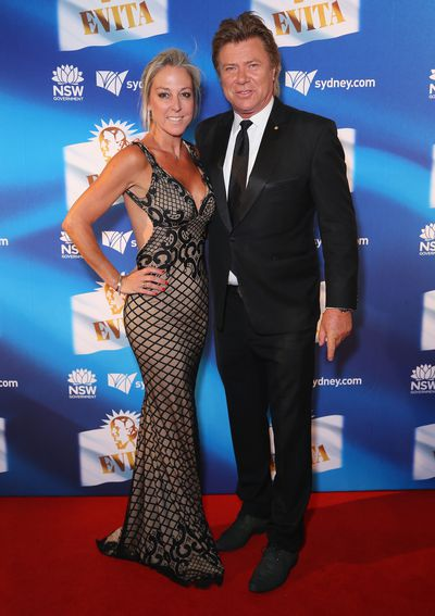 Nine Entertainment host and radio presenter Richard Wilkins and Virginia Burmeister at the premiere of <em>Evita</em>, Sydney Opera House.