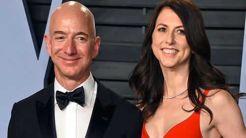 Happier times: Jeff Bezos and wife MacKenzie Bezos arrive at a Vanity Fair Oscar Party in Beverly Hills.