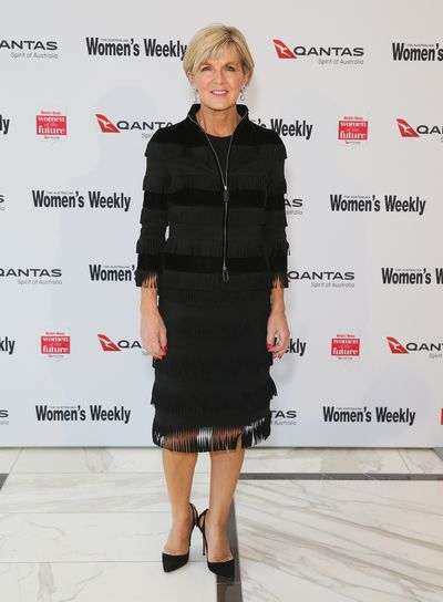 <p>Julie Bishop - Minister for Foreign Affairs and Deputy Leader of the Australian Liberal Party </p> <p>Age: 61</p> <p> Go-to labels: Armani, Louis Vuitton and Christian Louboutin&nbsp;<br /> <br /> </p>