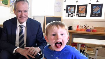 Lucas, 4 (right) and Opposition Leader Bill Shorten at the Goodstart Early Learning Centre at Albany Creek in Brisbane.