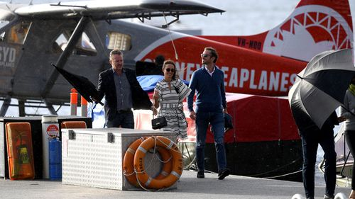 Pippa Middleton and husband James Matthews arrive at Rose Bay wharf on a Sydney Seaplanes aircraft during her honeymoon to Australia in May. (Image: AAP)