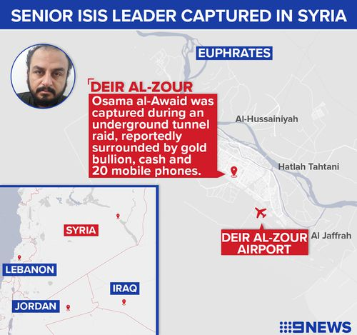 Osama al-Awaid, also known as Abu Zeid, was caught in a special operation on November 22 in the eastern Syrian village of Al-Tana in Deir Al-Zour.
