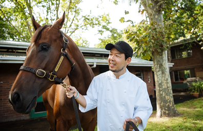 Chef Chase Kojima with champion horse Libertini