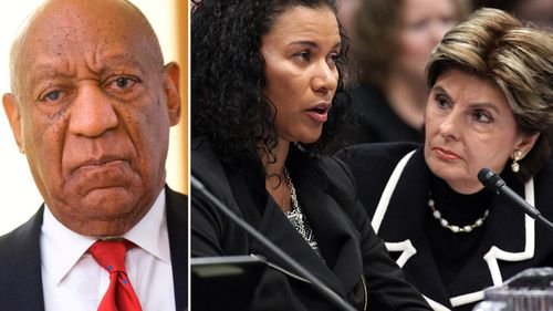 Bill Cosby (left) and Attorney Gloria Allred (right) with Lise-Lotte Lublin as Ms Lublin testifies during a hearing in March 2015. (AP)