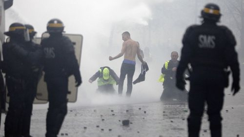 It's understood some protesters hurled rocks as police