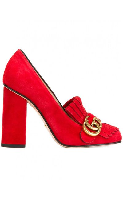 """<a href=""""http://www.tessabit.com/au/shoes-with-fringes-details-and-double-g-120284/"""" target=""""_blank"""">Heels, $1326, Gucci</a>"""