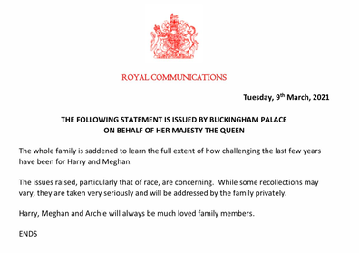 The Queen's statement was kept short at 61 words.