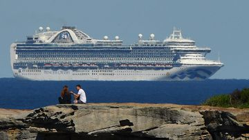 The Ruby Princess sits off the coast of Sydney, on April 5. At least 13 passengers from the Ruby Princess have died due to the coronavirus and a number of crew have been taken off the ship and hospitalised.