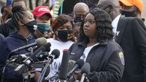 Breonna Taylor's aunt Bianca Austin, and sister of Breonna's mum Tamika Palmer, speaks during a news conference, Friday, September 25, 2020, in Louisville, Kentucky