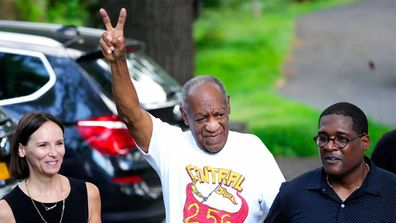 Comedian Bill Cosby returns to his home in suburban Philadelphia.