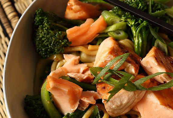 Teriyaki salmon with hokkien noodles and greens