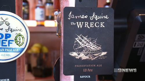 The beer, called 'The Wreck', was restored at the Australian Wine Research Institute in Adelaide. Picture: 9NEWS