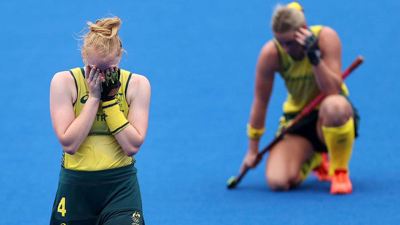 Amy Rose Lawton and Mariah Williams of Team Australia react after a 1-0 loss after the Women's Quarterfinal match between Australia and India on day ten of the Tokyo 2020 Olympic Games at Oi Hockey Stadium on August 02, 2021 in Tokyo, Japan. (Photo by Buda Mendes/Getty Images)