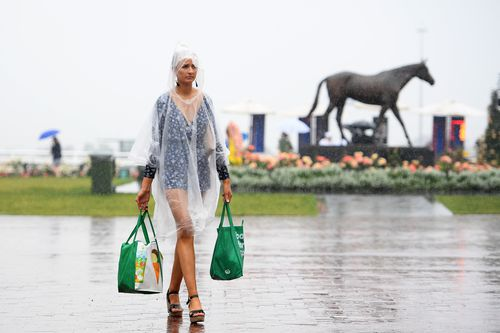 The Melbourne weather certainly wasn't what racegoers were expecting at Flemington on Tuesday.