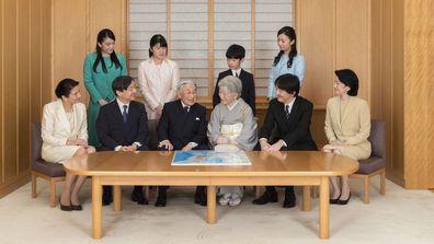 Imperial family members in this photo are, front left, to right, Crown Princess Masako, Crown Prince Naruhito, Emperor Akihito, Empress Michiko, Prince Akishino, and Princess Kiko, and, back from left to right, Princess Mako, Princess Aiko, Prince Hisahito, and Princess Kako