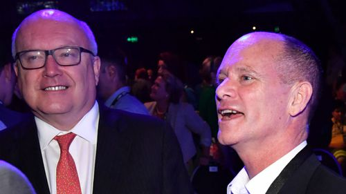 Attorney-General George Brandis and former premier Campbell Newman today. (AAP)