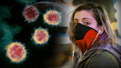 A woman wears a protective mask as COVID-19 outbreak spreads around Australia and the world.