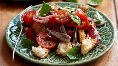 "Click through for our <a href=""http://kitchen.nine.com.au/2016/05/16/13/09/panzanella"" target=""_top"">panzanella</a> recipe"
