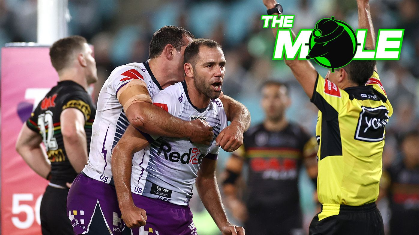 Cameron Smith reacts to the full-time whistle in the grand final.