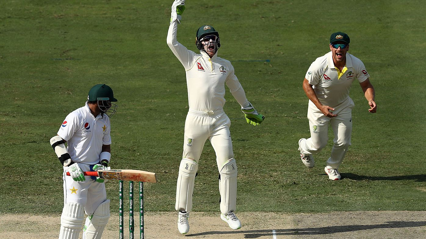 Tim Paine celebrates the wicket of Imam-Ul-Haq