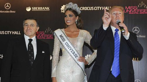 Aras Agalarov, Miss Universe 2013 Gabriela Isler, from Venezuela and Donald Trump in Russia in 2013. (AAP)