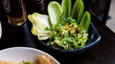 """<a href=""""http://kitchen.nine.com.au/2017/04/07/14/42/potts-point-hotels-avocado-guacamole-with-jalapeno"""" target=""""_top"""">Potts Point Hotel's avocado guacamole with jalapeno</a><br /> <br /> <a href=""""http://kitchen.nine.com.au/2016/10/24/10/36/homemade-dip-recipes-for-every-occasion"""" target=""""_top"""">More dip recipes</a>"""