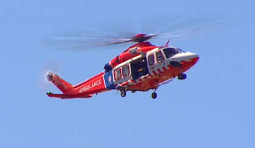The man was airlifted to hospital in a serious condition. (9NEWS)