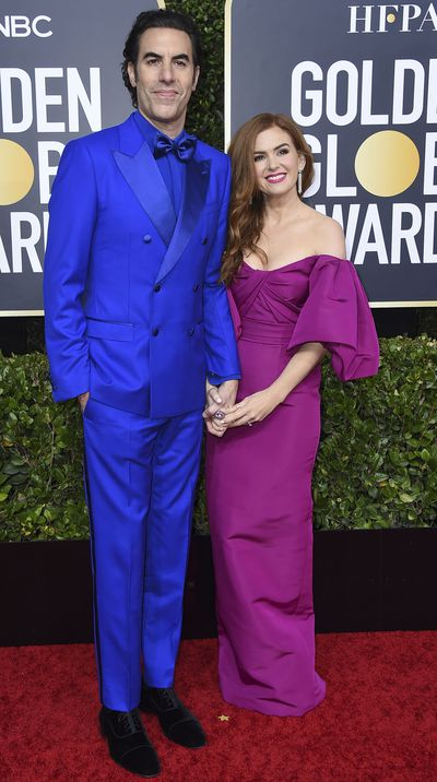Sacha Baron Cohen and Isla Fisher at the 2020 Golden Globes.