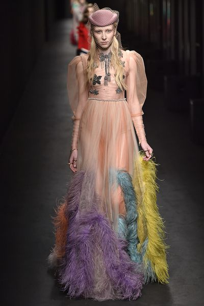 Acting as something of an unofficial ambassador for Gucci since Alessandro Michele's appointment, musician Florence Welsh has long been photographed in the opulent and eclectic designs of the house. Given her status as muse to the Creative Director and her tendancy toward dramatic, vintage-inspired looks, we could see her vibrant flame-coloured hair offsetting the rainbow maribou feathers of this Gucci gown.