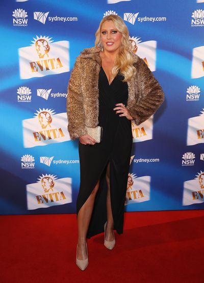 Radio and TV personality Mel Greig at the premiere of <em>Evita</em>, Sydney Opera House.
