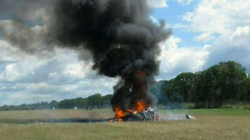 The light aircraft burst into flames after crashing, killing five people aboard.