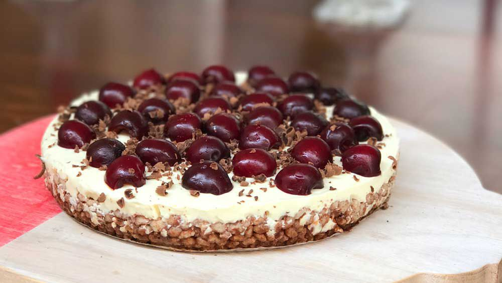 Gluten free no bake dark choc cherry cheesecake
