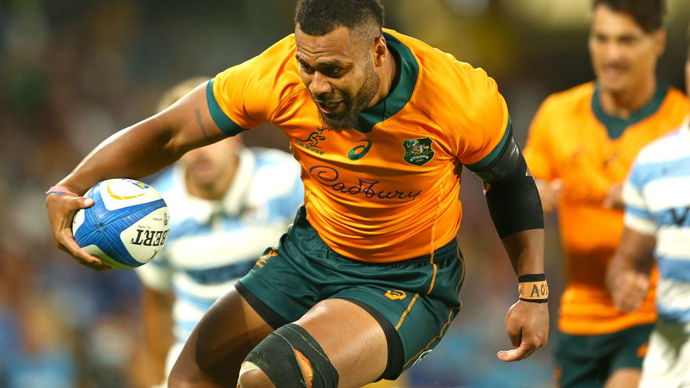 Samu Kerevi of the Wallabies runs in for a try during The Rugby Championship match between the Argentina Pumas and the Australian Wallabies at Cbus Super Stadium on October 02, 2021 in Gold Coast, Australia. (Photo by Jono Searle/Getty Images)