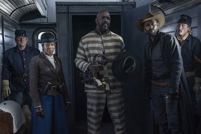 The Harder They Fall movie still Regina King, Idris Elba