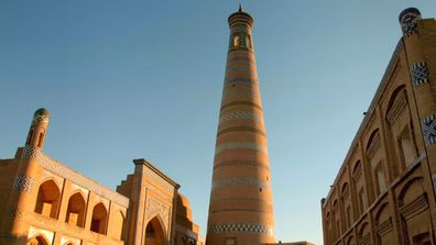 The girls are blown away by the beauty of the city of Khiva.