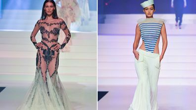 Bella Hadid and Gigi Hadid walk the runway during the Jean-Paul Gaultier Haute Couture Spring/Summer 2020 fashion show as part of Paris Fashion Week at Theatre Du Chatelet on January 22, 2020 in Paris, France.