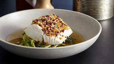 """Recipe:<a href=""""http://kitchen.nine.com.au/2016/05/20/11/09/the-fish-shops-steamed-blueeye-trevalla-with-zucchini-and-garlic-chive-noodles"""" target=""""_top"""">The Fish Shop's steamed blue-eye trevalla with zucchini and garlic chive 'noodles'</a>"""