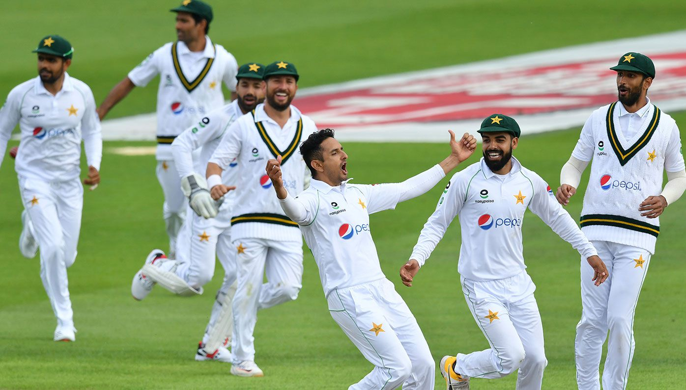 Pakistan players celebrate the wicket of Ben Stokes on day two of the first Test against England.