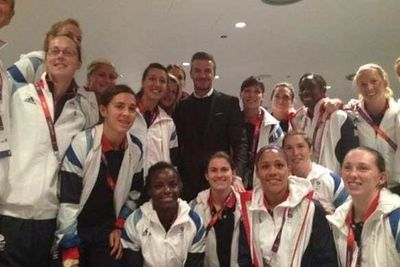 David Beckham with the Team GB football girls.