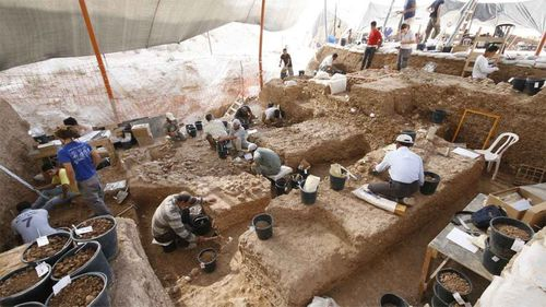 The excavation of a sinkhole led to the discovery of ancient human skeletons.